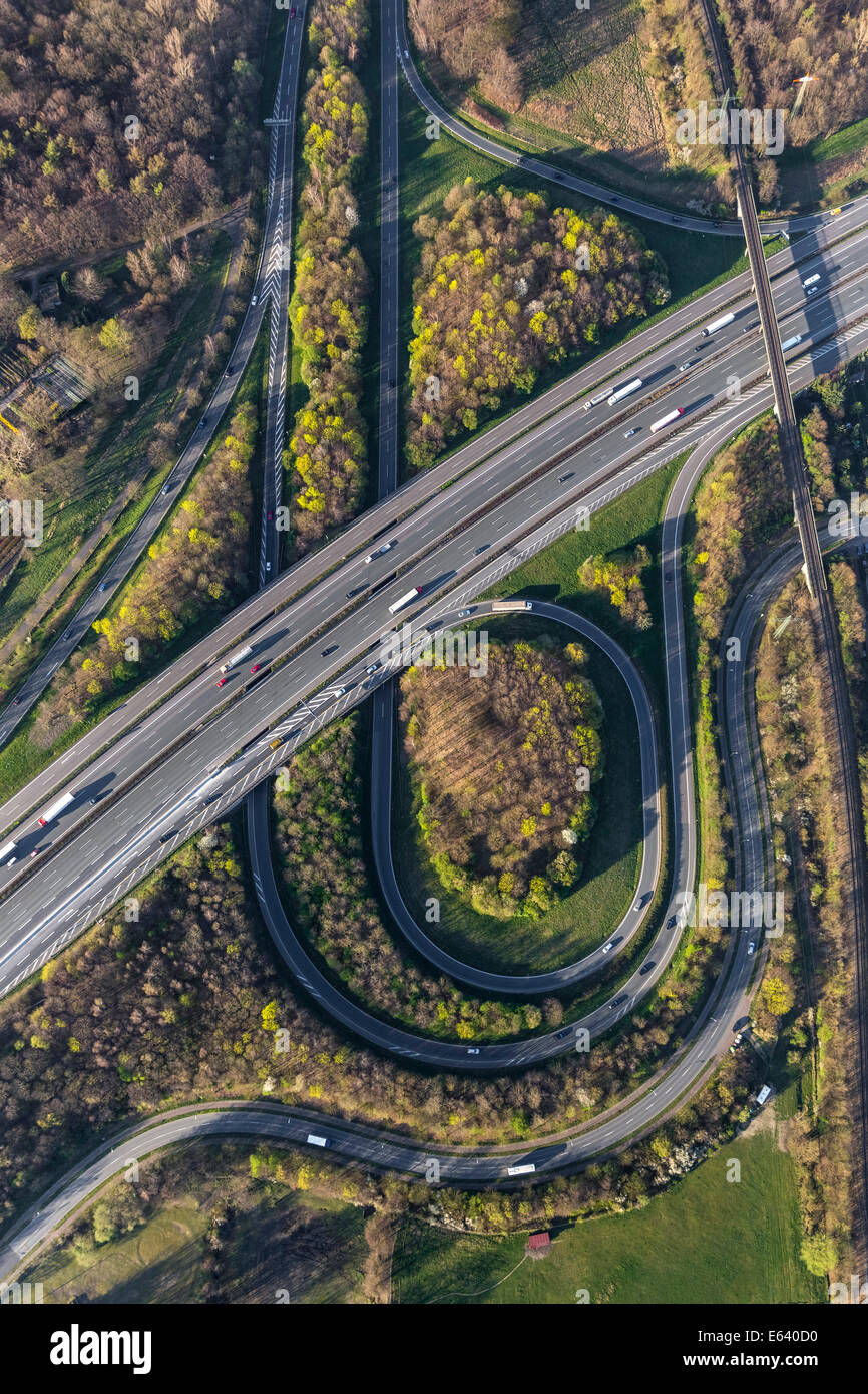 Aerial view of the A2 and A31 motorway junction, Friesenspieß Bottrop-Nord, Bottrop, Ruhr district, North Rhine Stock Photo