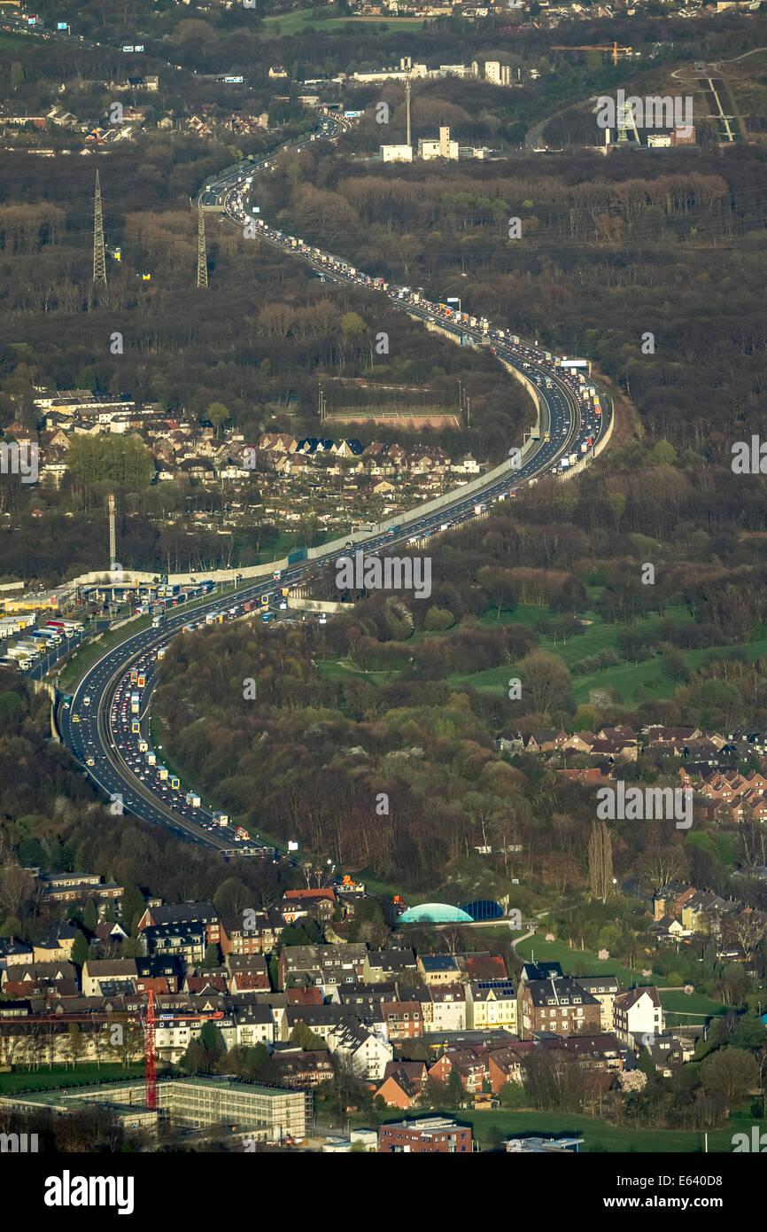 Aerial view, congestion on the A2 motorway, Gelsenkirchen-West, Gelsenkirchen, Ruhr district, North Rhine-Westphalia, Stock Photo