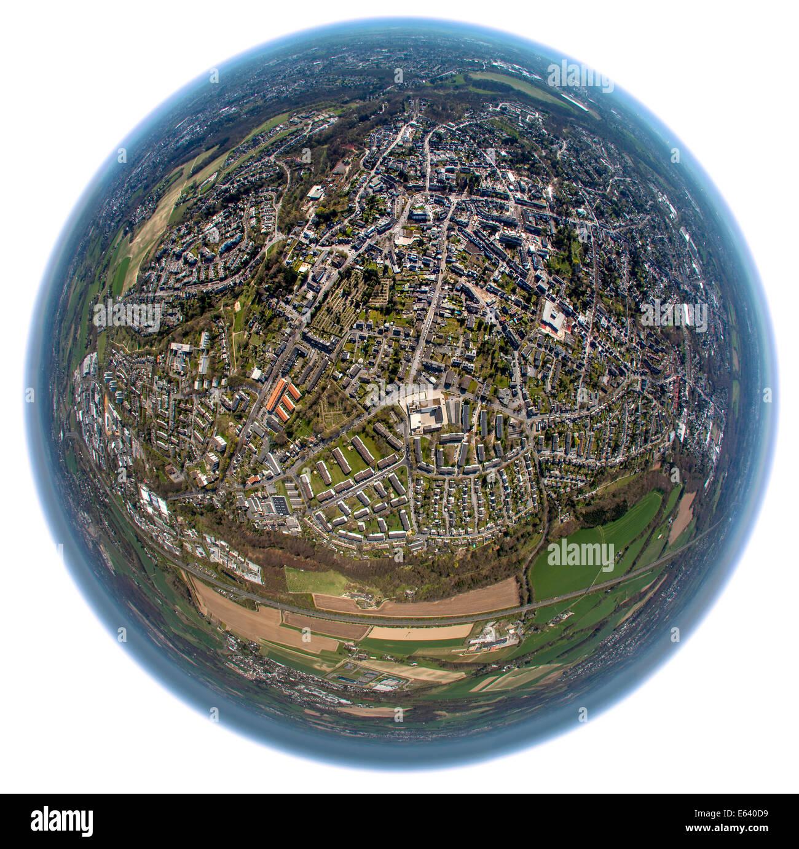 Aerial view shot with a fisheye lens, Gruyten, Haan, North Rhine-Westphalia, Germany - Stock Image