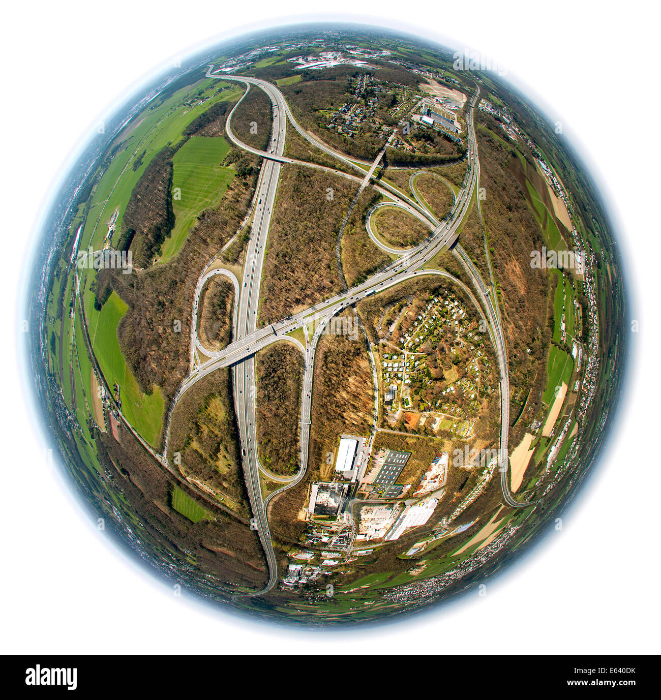 Aerial view shot with a fisheye lens, motorway junction of A1, A43 and A46 motorway, near Haßlinghausen, Sprockhövel - Stock Image