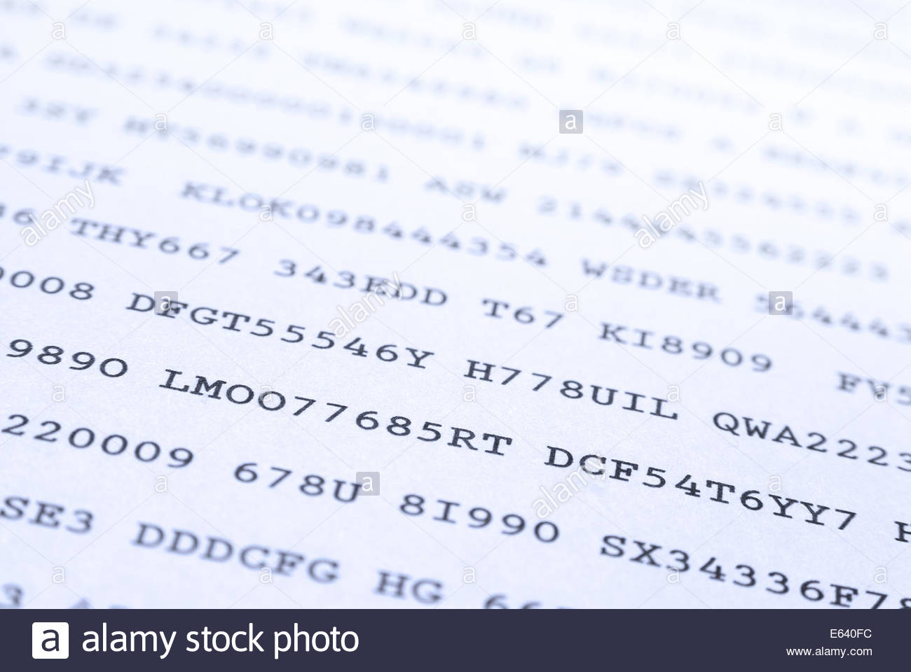 Secret codes printed on paper - Stock Image