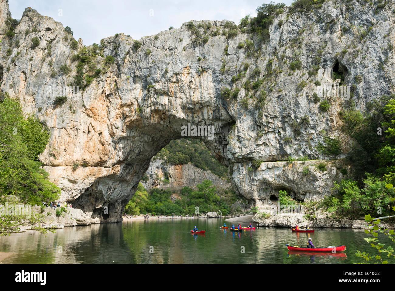 Pont d'Arc, natural rock arch over the Ardèche River, Ardèche Gorges, Gorges de l'Ardèche, - Stock Image