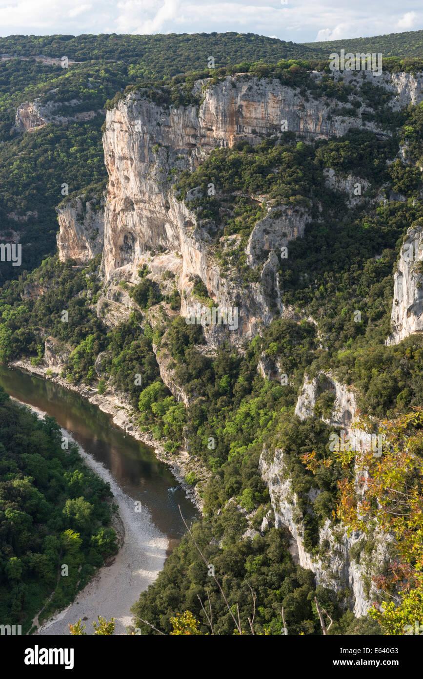 Ardèche Gorges, Gorges de l'Ardèche, view from the panoramic road D290, the Belvedere d'Autridge - Stock Image