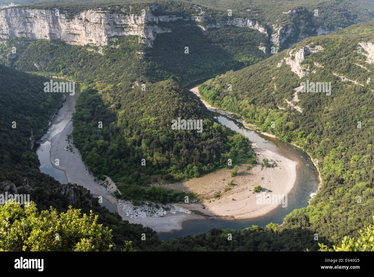 Ardèche Gorges, Gorges de l'Ardèche, view from the Balcon des Templiers lookout to the Cirque de la - Stock Image