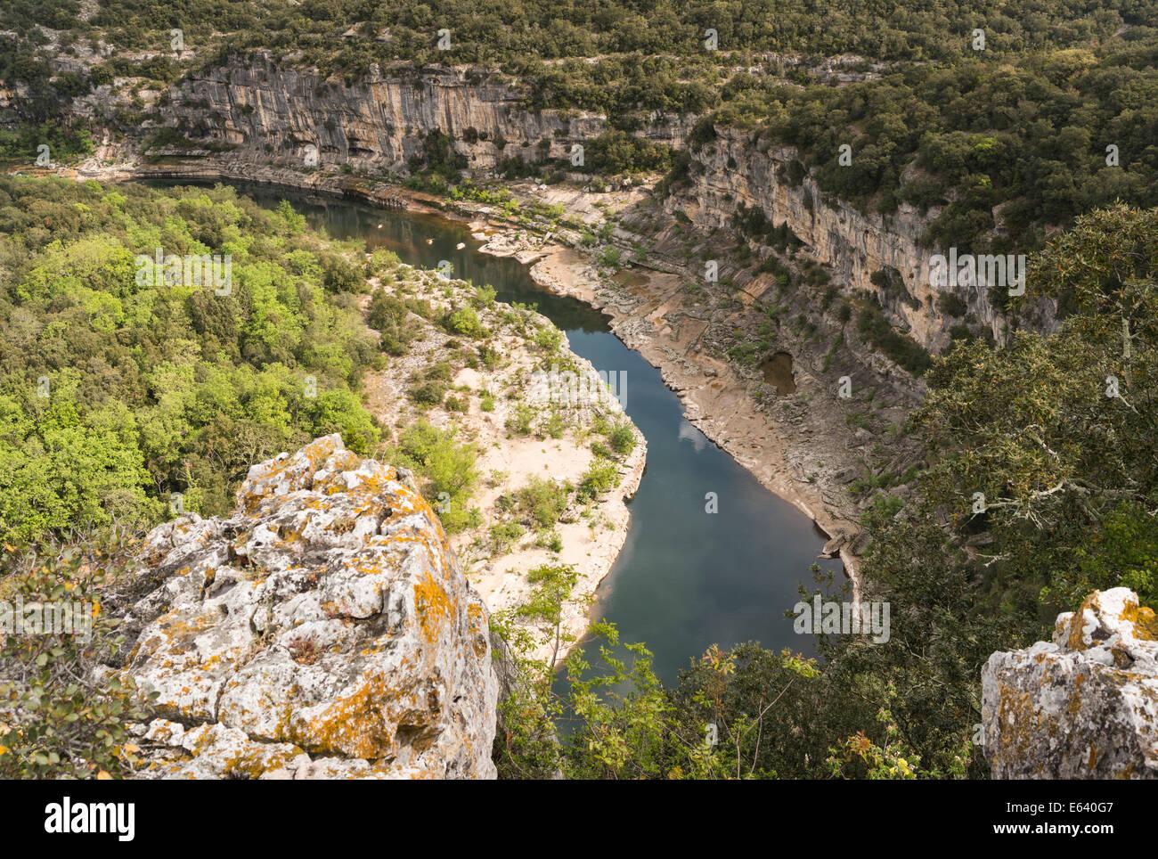 Ardèche Gorges, Gorges de l'Ardèche, view from the Belvédère de Ranc-Pointu lookout on the - Stock Image