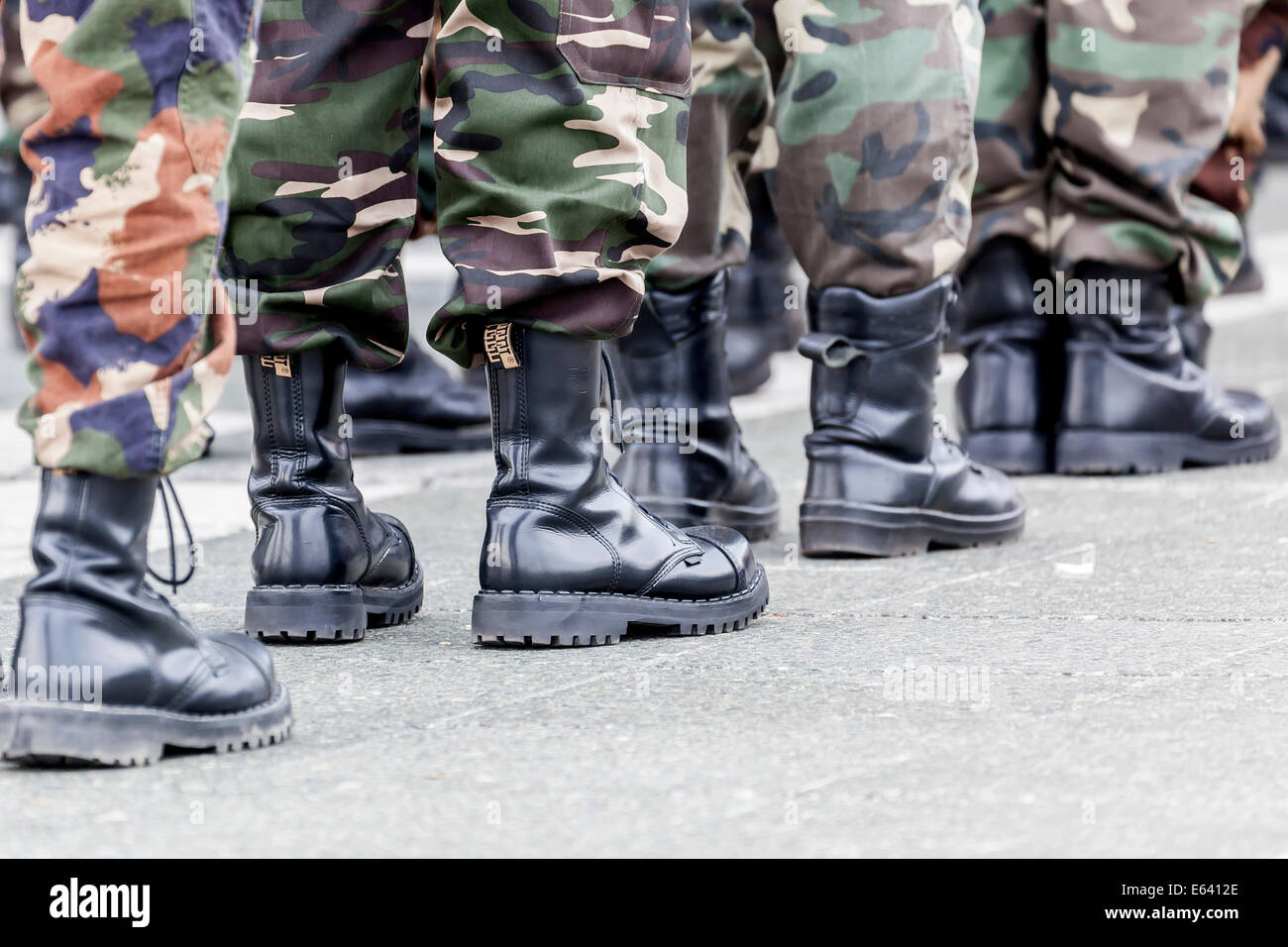 Members of a right-wing Hungarian party wearing combat boots, symbolic image for right-wing extremism, Budapest, Stock Photo