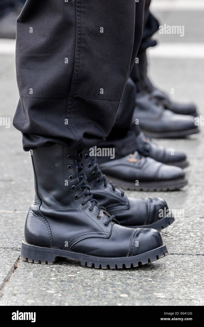 Members of a right-wing Hungarian party wearing combat boots, symbolic image for right-wing extremism, Budapest, - Stock Image