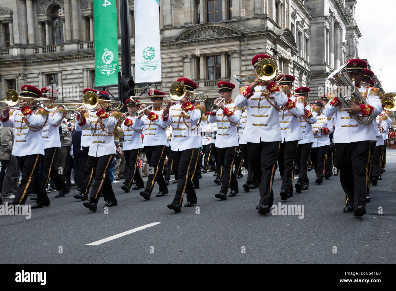 Marching Band in Glasgow George Square promoting the Edinburgh Military Tattoo 2014. Stock Photo