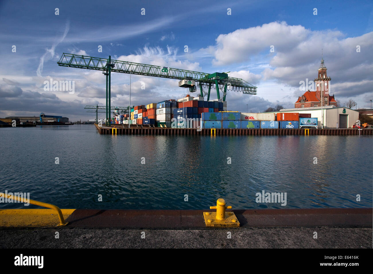 Dortmund harbor with the old Port Authority, Dortmund, Ruhr district, North Rhine-Westphalia, Germany - Stock Image