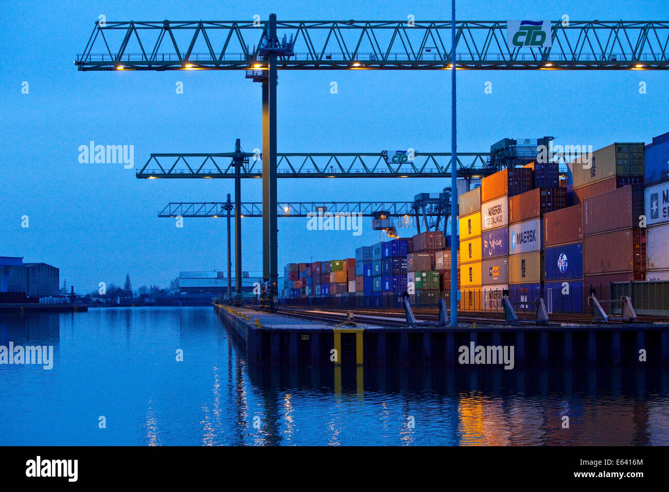 Container Terminal Dortmund or CTD, in the harbor, Dortmund, Ruhr district, North Rhine-Westphalia, Germany Stock Photo