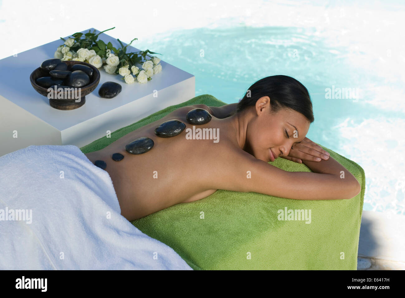 Woman enjoying a wellness and spa treatment, South Africa - Stock Image