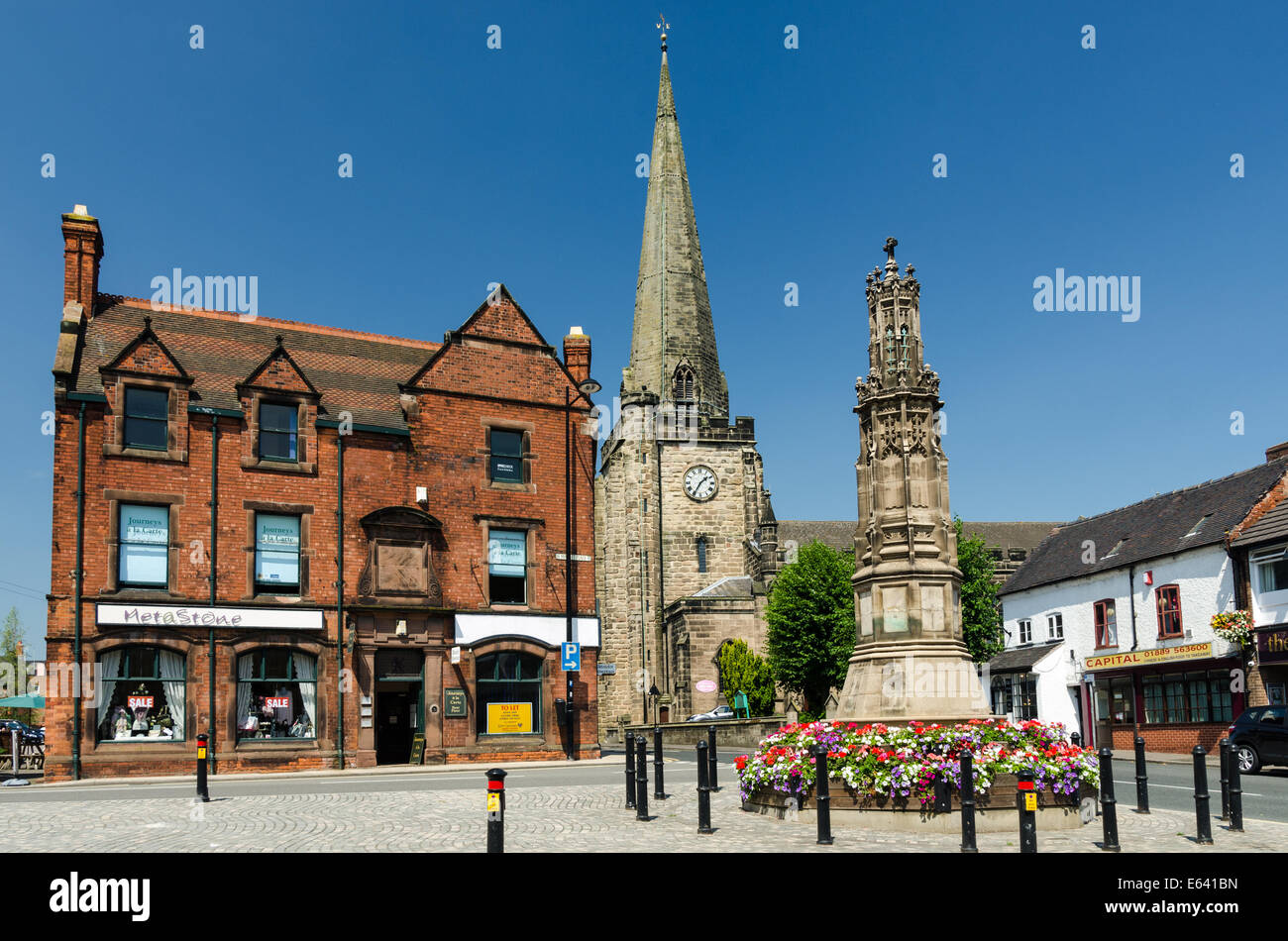 Market Place in the Staffordshire market town of Uttoxeter - Stock Image