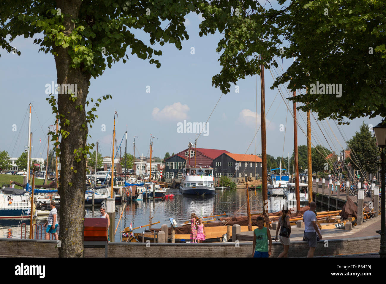 Harbor of Elburg, an old historic, touristic and hanseatic city in the province of Gelderland in the Netherlands. - Stock Image