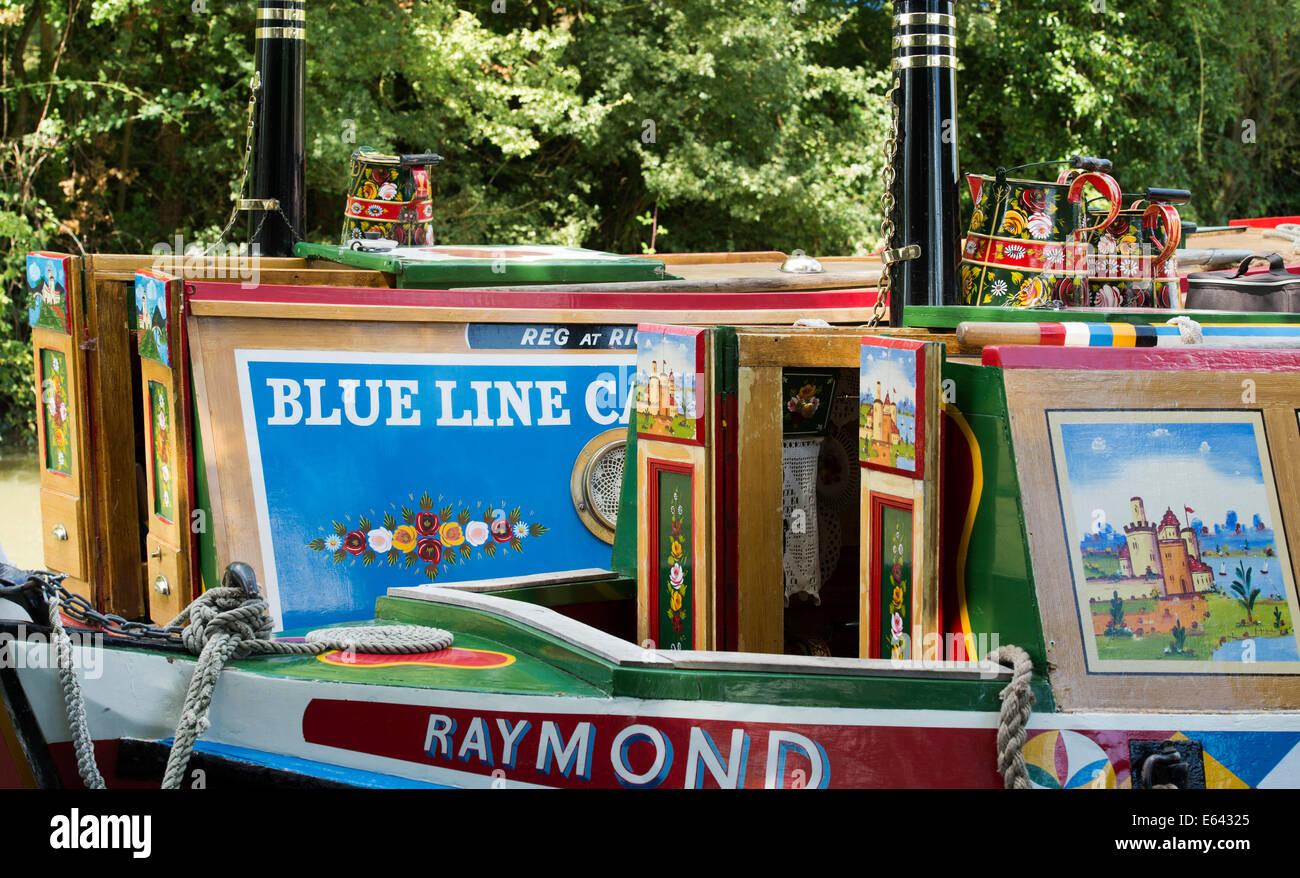 Colourful Historical Narrowboats on the Grand Union Canal. Blisworth, Northamptonshire, England. - Stock Image