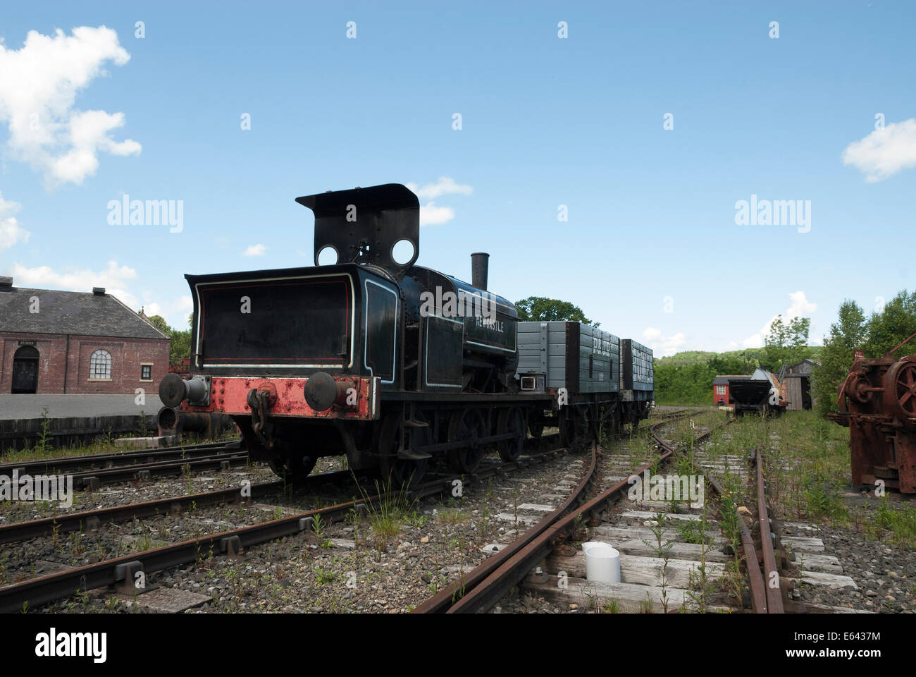 Disused railway track and goods train at Beamish Museum. - Stock Image