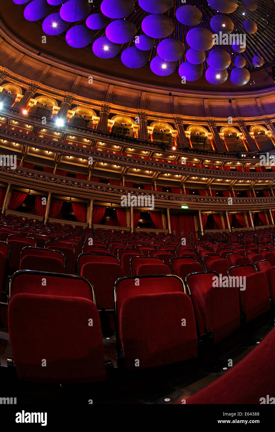 Seating and Acoustic sound panels in the roof of the Royal Albert Hall, London, UK - Stock Image