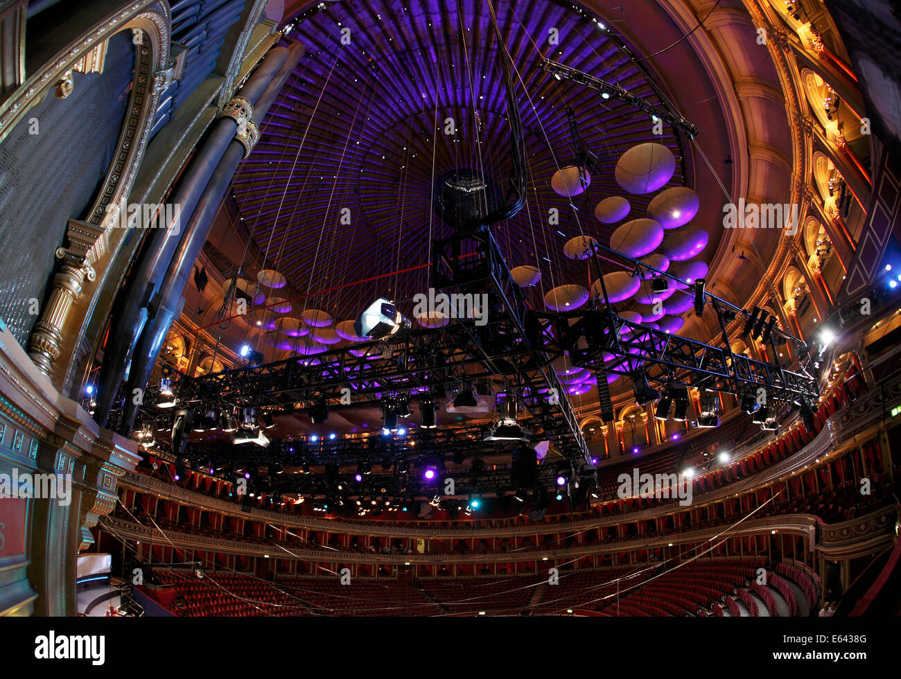 Acoustic sound panels and lighting rig in the roof of the Royal Albert Hall, London, UK - Stock Image