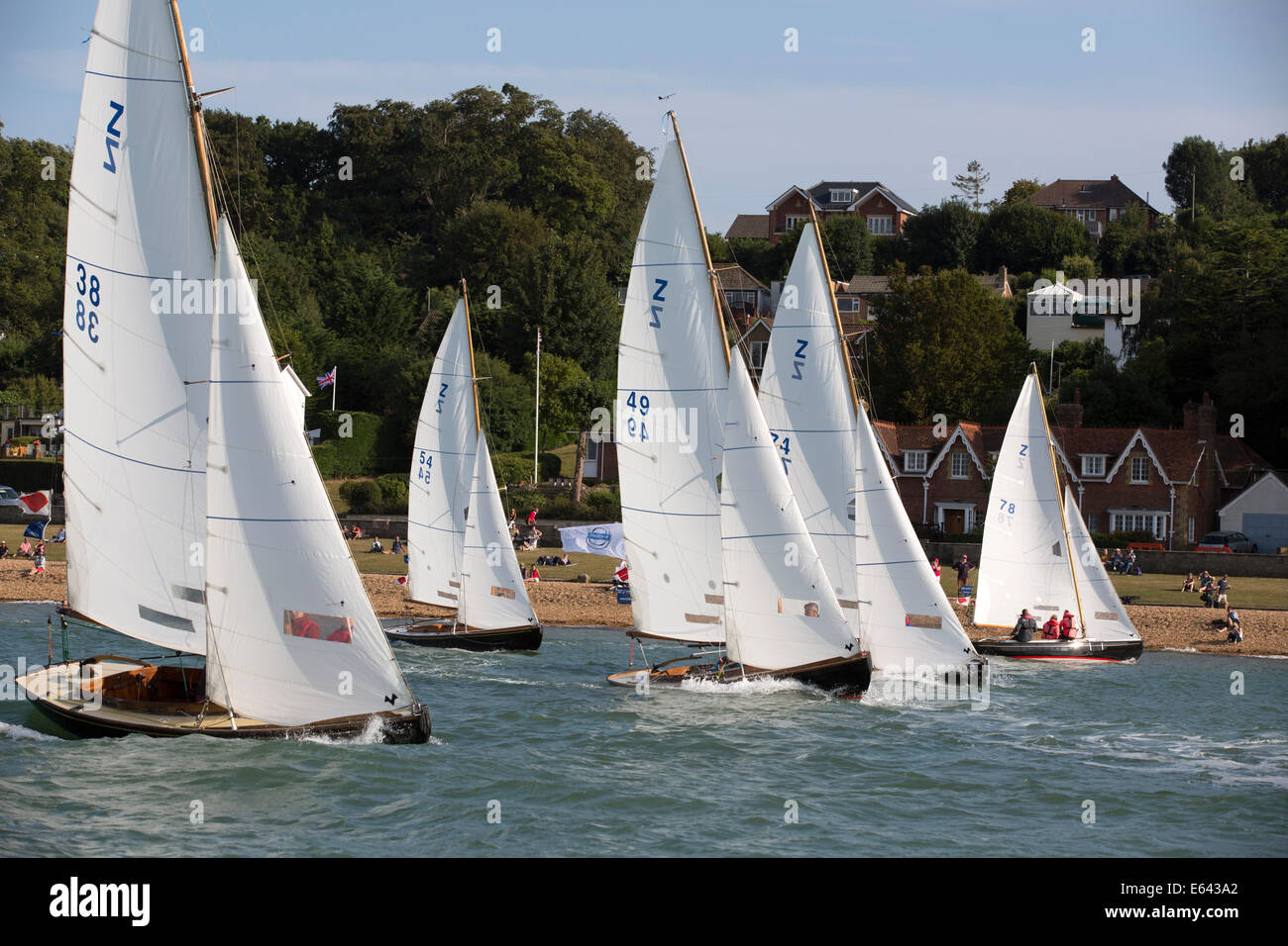 victory class keelboats racing at aberdeen asset management cowes week 2014 - Stock Image