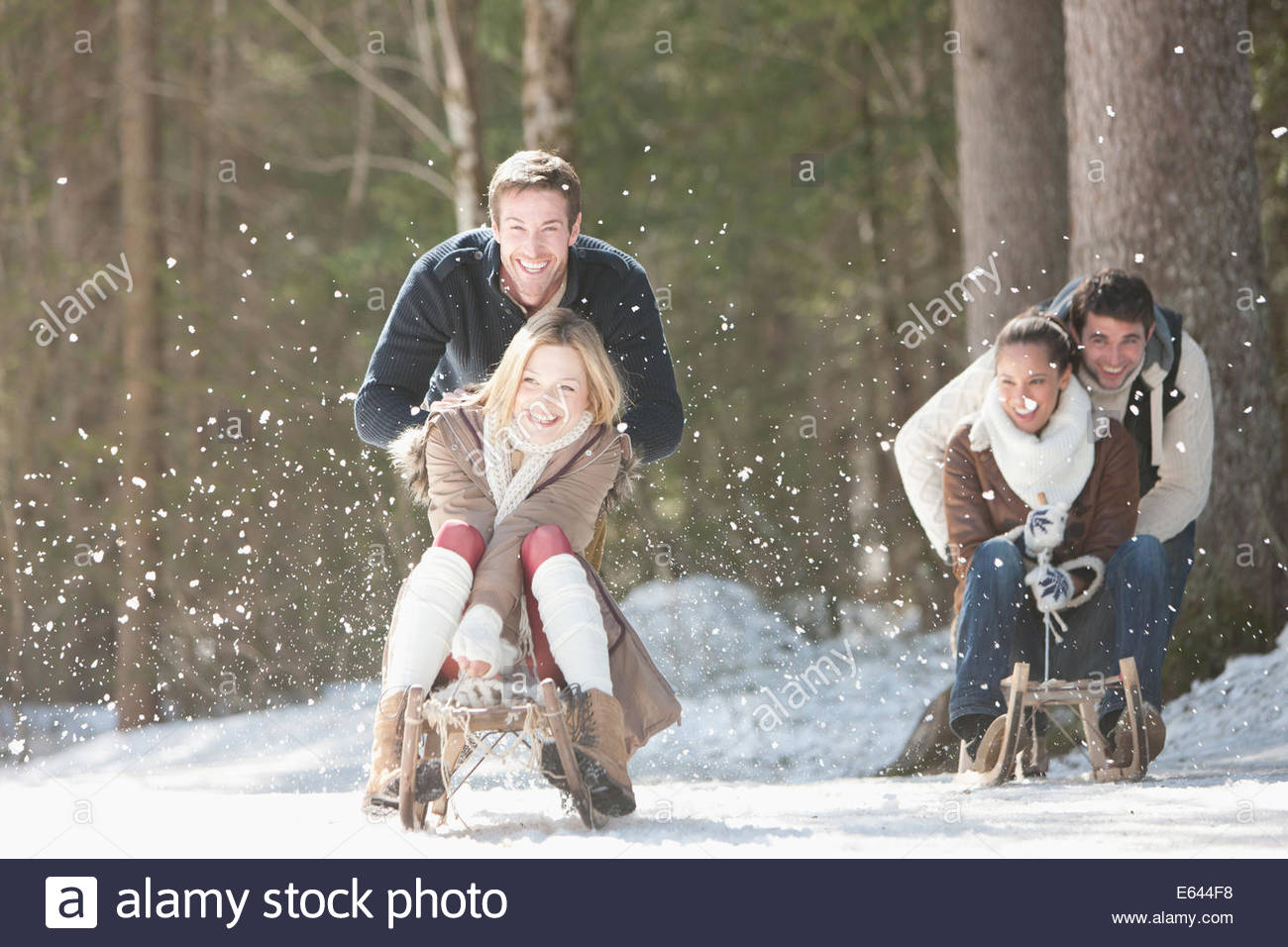 Men pushing women on sleds in snowy woods - Stock Image