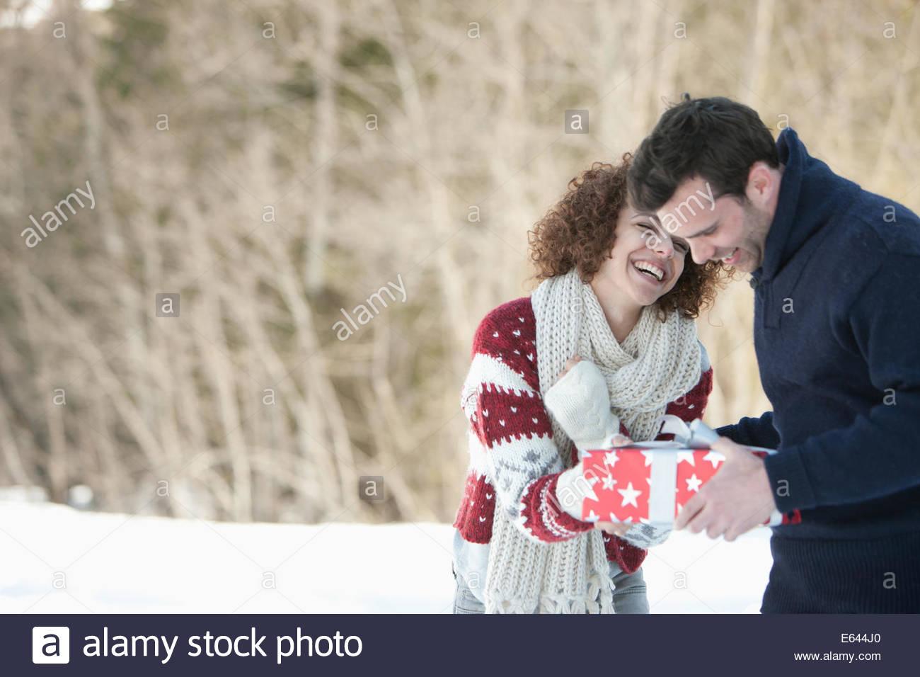 Man and woman embracing - Stock Image