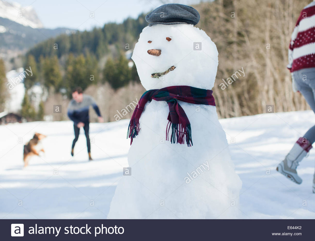 Snowman, people with dog in background - Stock Image