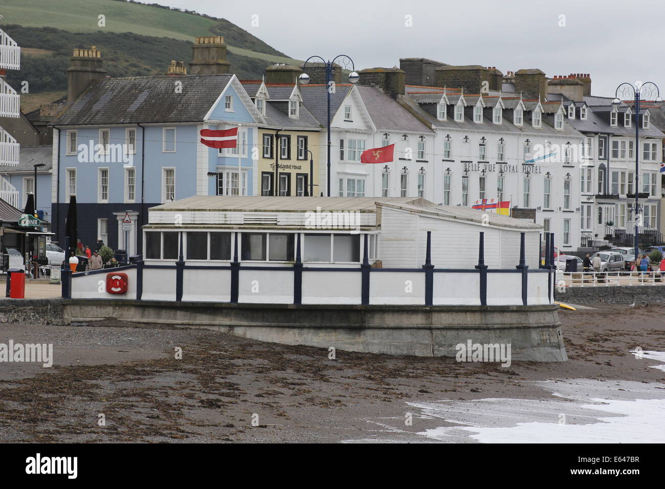 Aberystwyth bandstand on a gusty day - Stock Image