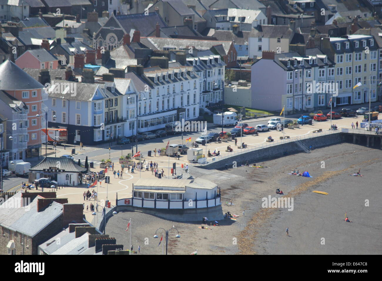 Aberystwyth seafront & bandstand Stock Photo
