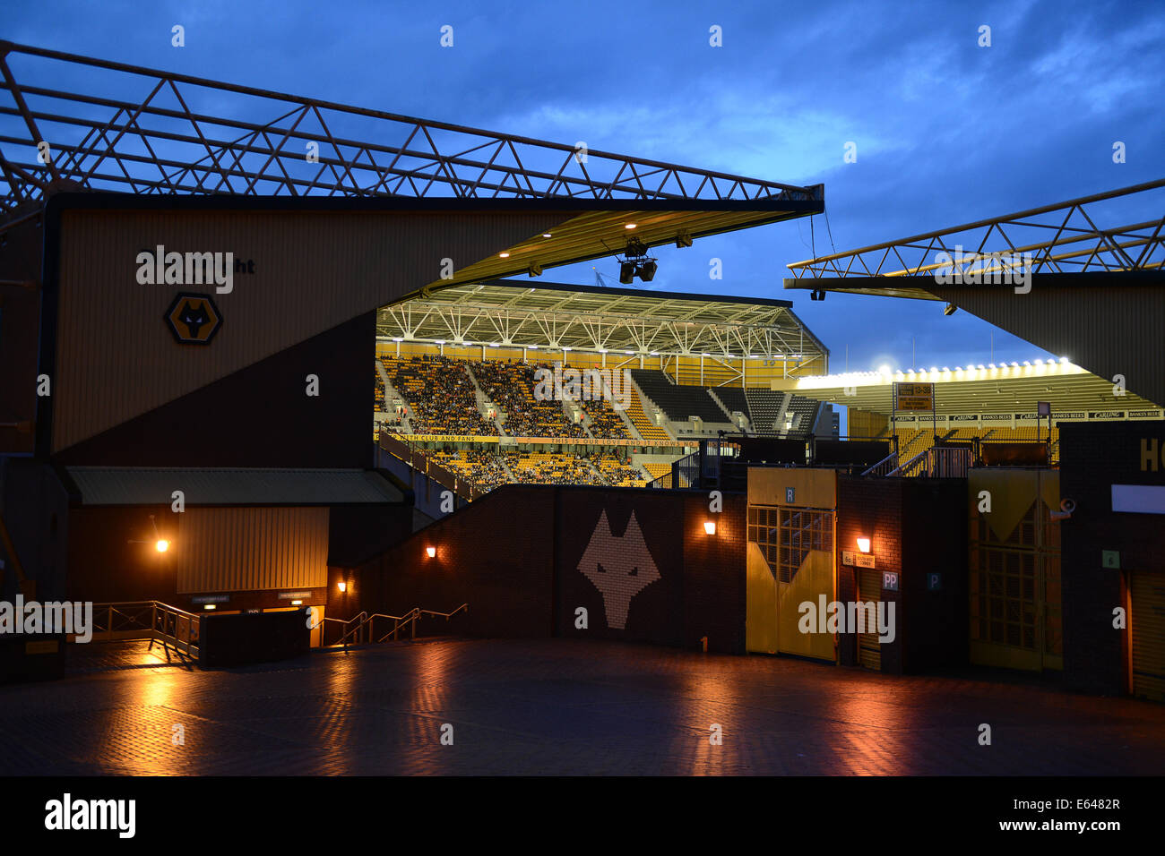 Molineux football stadium home of Wolverhampton Wanderers FC during night match - Stock Image