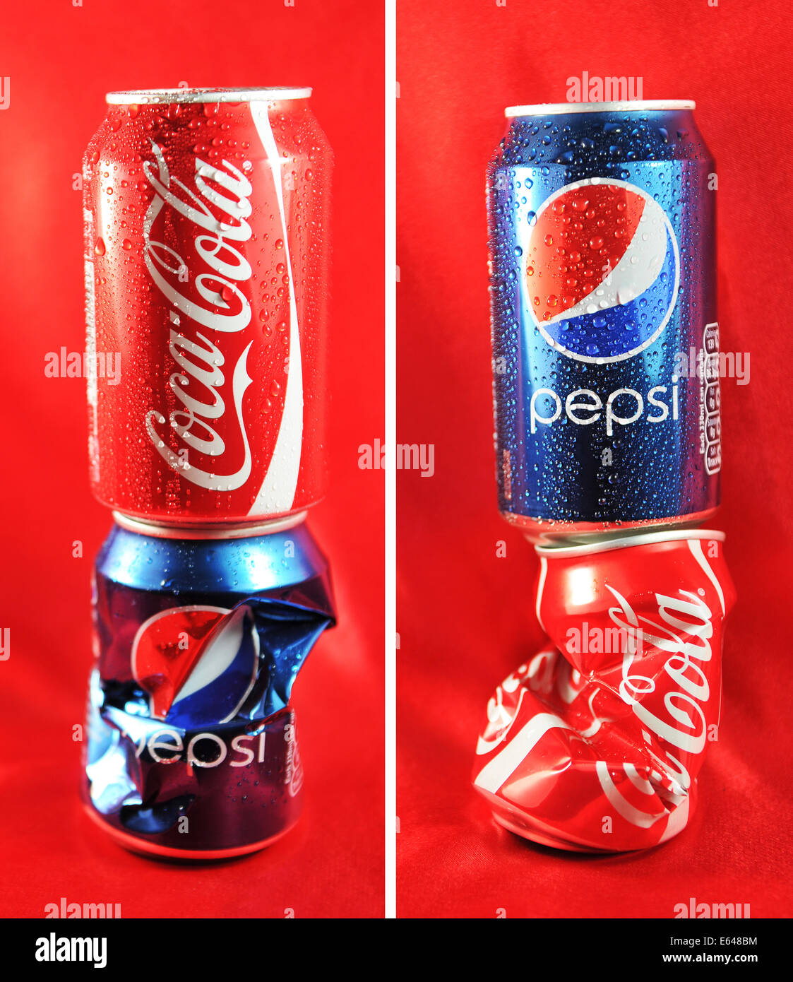 LONDON, UK - FEBRUARY 27, 2011: Coca Cola vs. Pepsi competition concept with cans against red background -illustrative - Stock Image