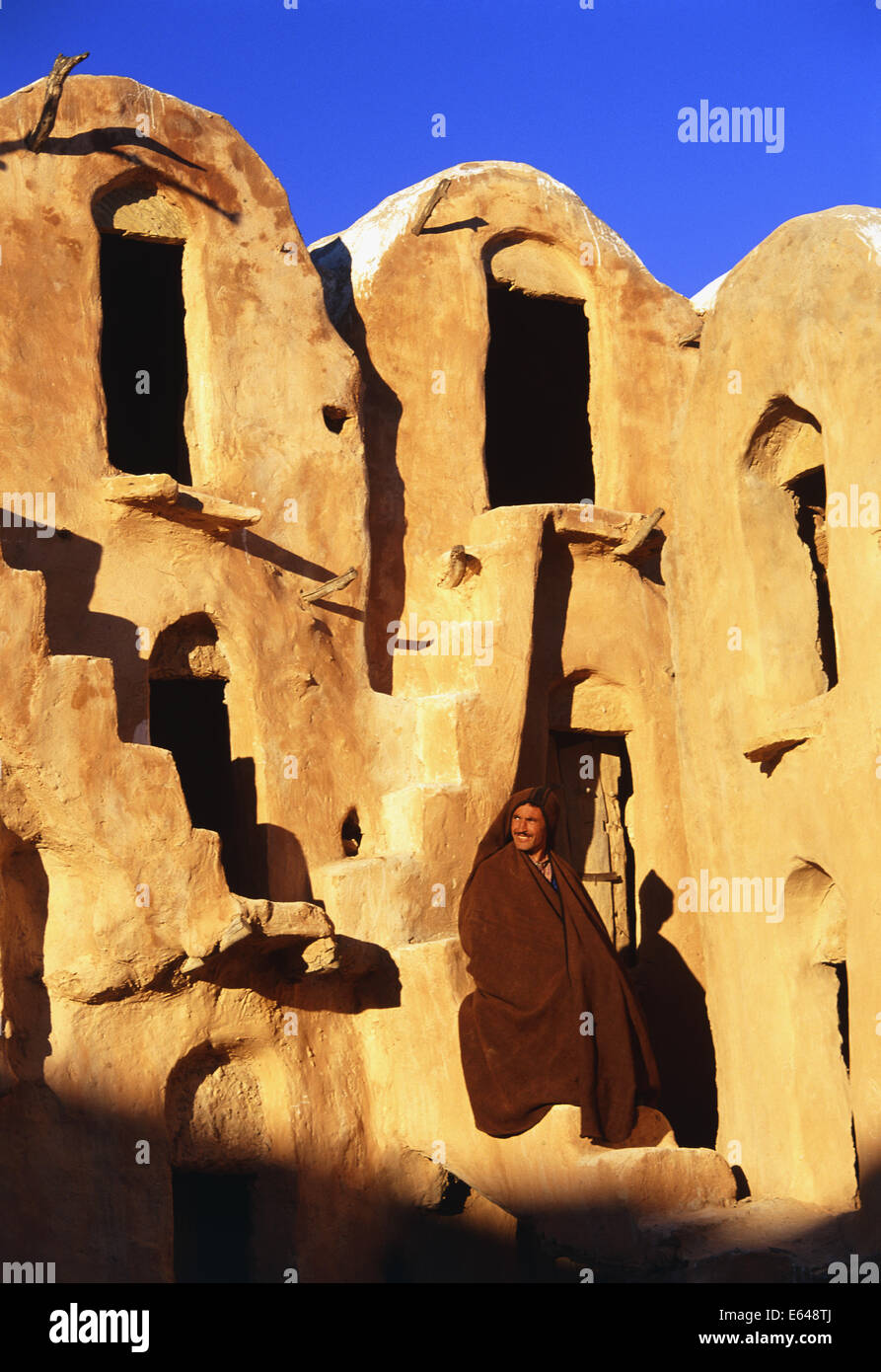 Ksar Ouled Soltrane fortified granary ghorfas cells used in the past to store grain, Tunisia - Stock Image