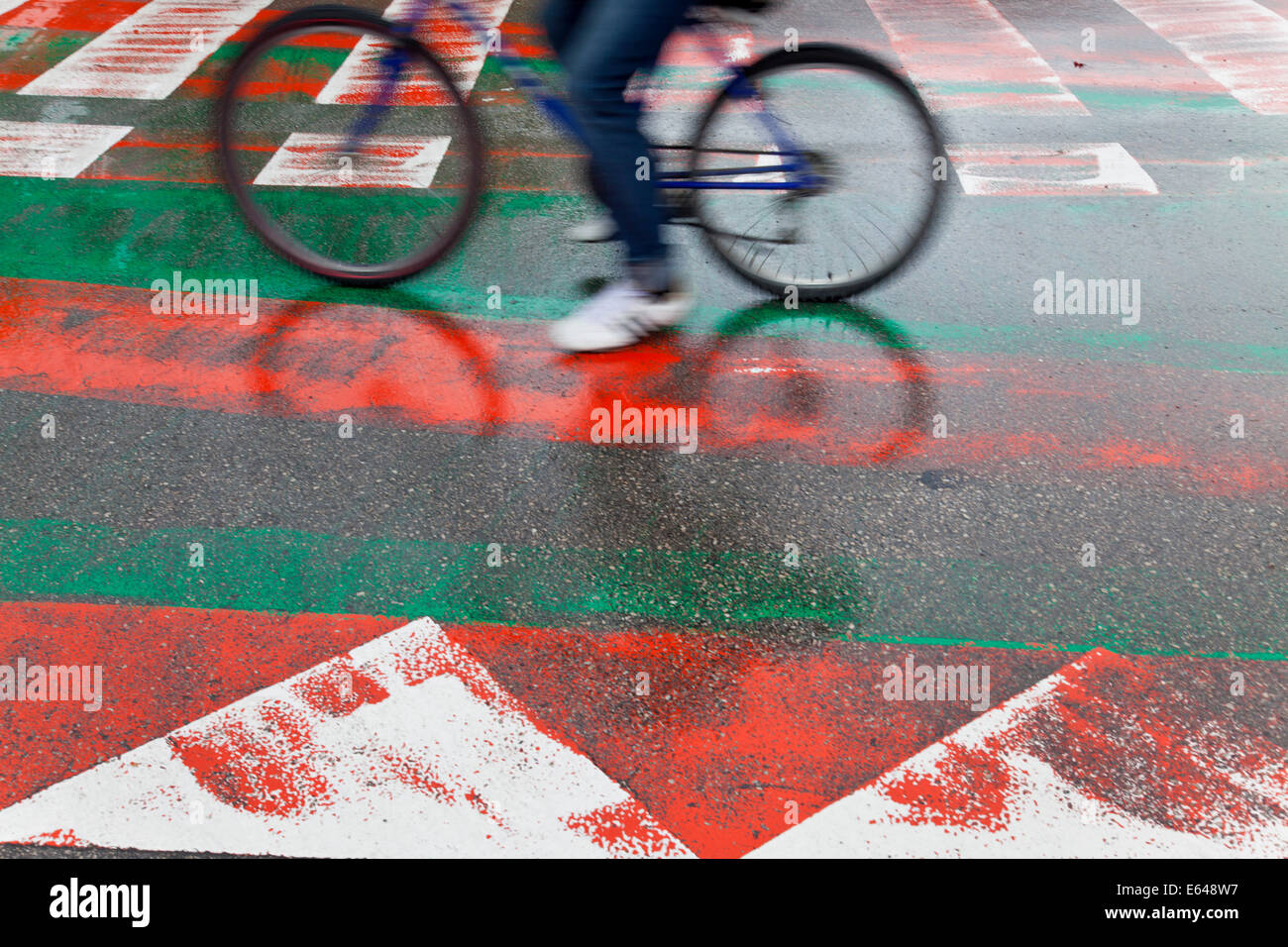 Pedestrian crossing & cycle path, Spain - Stock Image