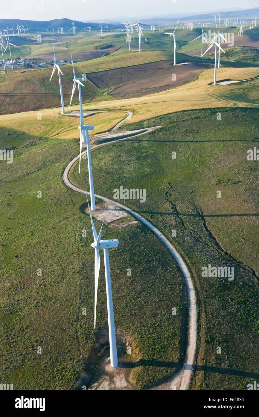 Aerial view of wind turbines Huelva Province, Spain - Stock Image