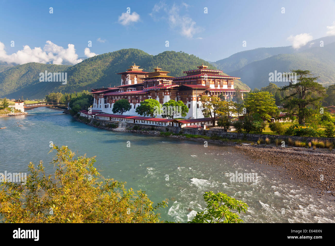 Punakha Dzong or monastery, Punakha, Bhutan Stock Photo