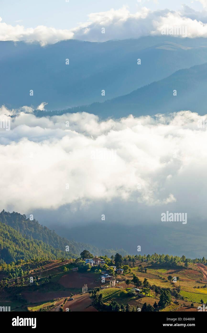 Shingyer village, Ura Valley, Bumthang, Bhutan - Stock Image
