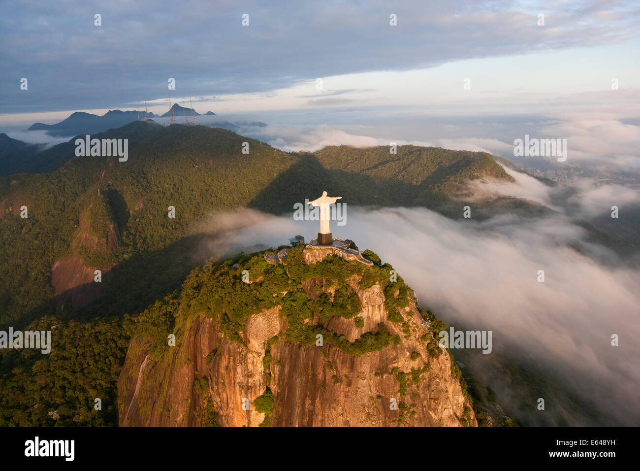 The giant Art Deco statue Jesus known as Cristo Redentor (Christ Redeemer) on Corcovado mountain in Rio de Janeiro Stock Photo