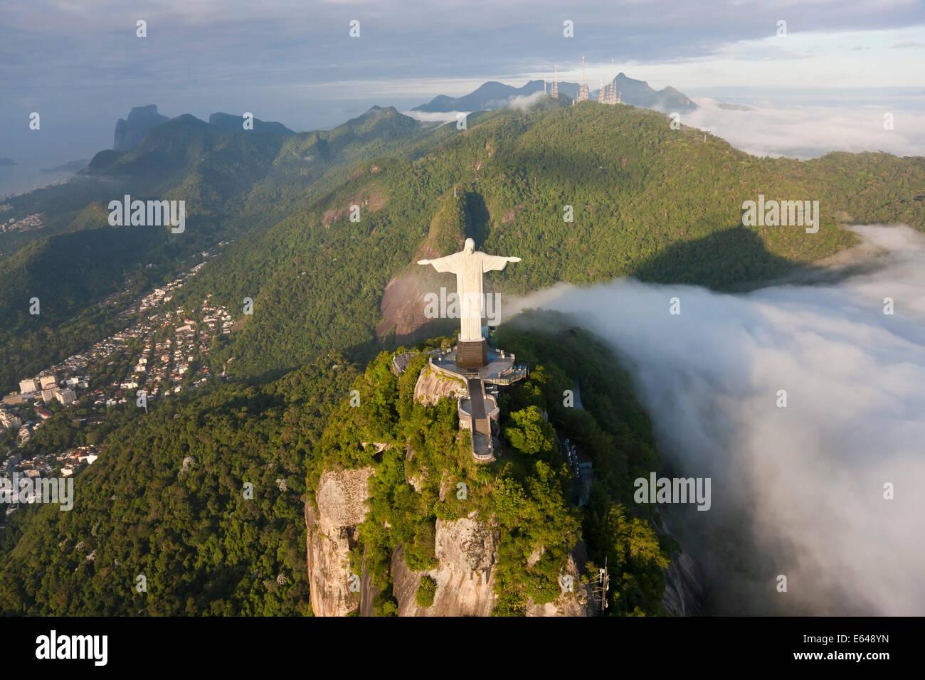 The giant Art Deco statue Jesus known as Cristo Redentor (Christ Redeemer) on Corcovado mountain in Rio de Janeiro Stock Photo