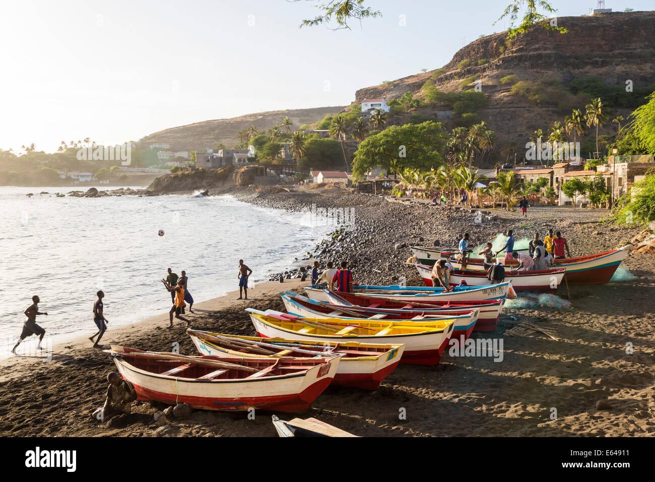 Fishing boats on beach, Cidade Velha, Santiago Island, Cape Verde - Stock Image