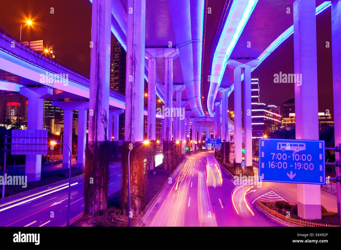 Illuminated flyovers, Shanghai, China - Stock Image