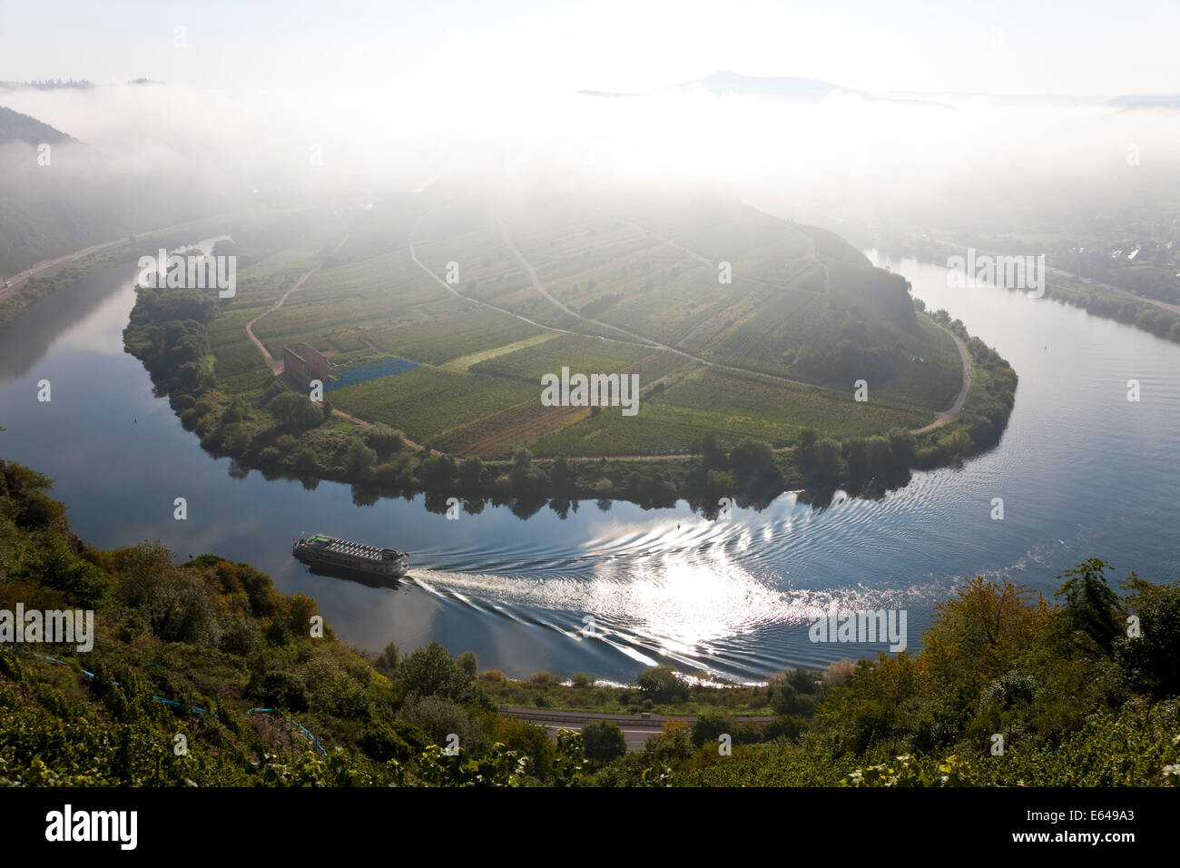 Bremm Rhineland-palatinate Germany historic village Bremm is on a horseshoe bend in river Mosel Bend in Moselle - Stock Image