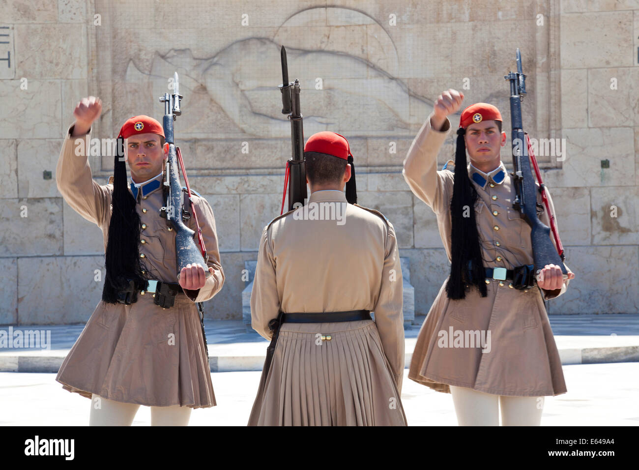 Changing of the Guard, Evzone Guards, Syntagma Square Athens Greece - Stock Image