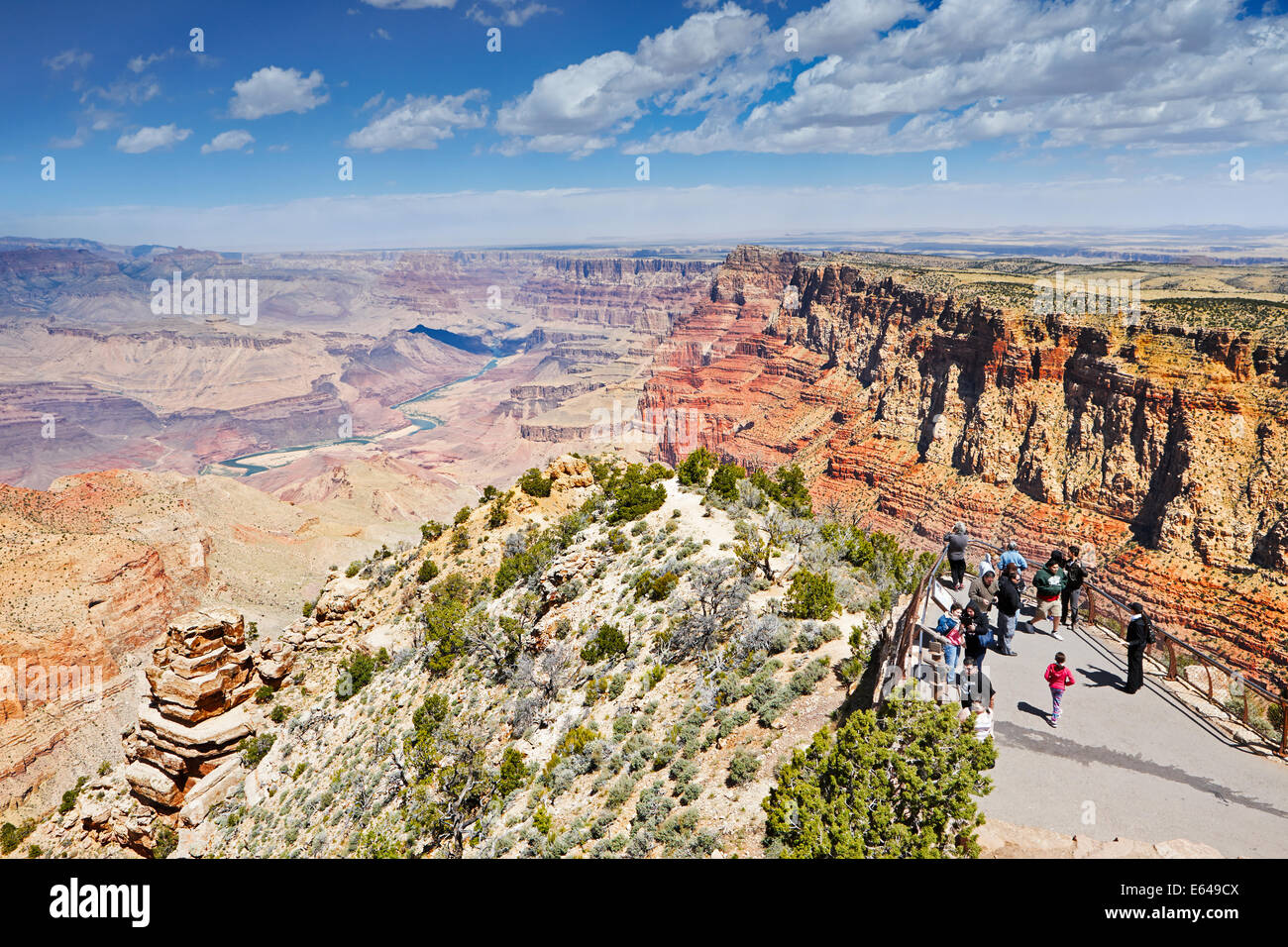Scenic view of the Grand Canyon and Colorado river from the Grand Canyon South Rim. Arizona, USA. Stock Photo