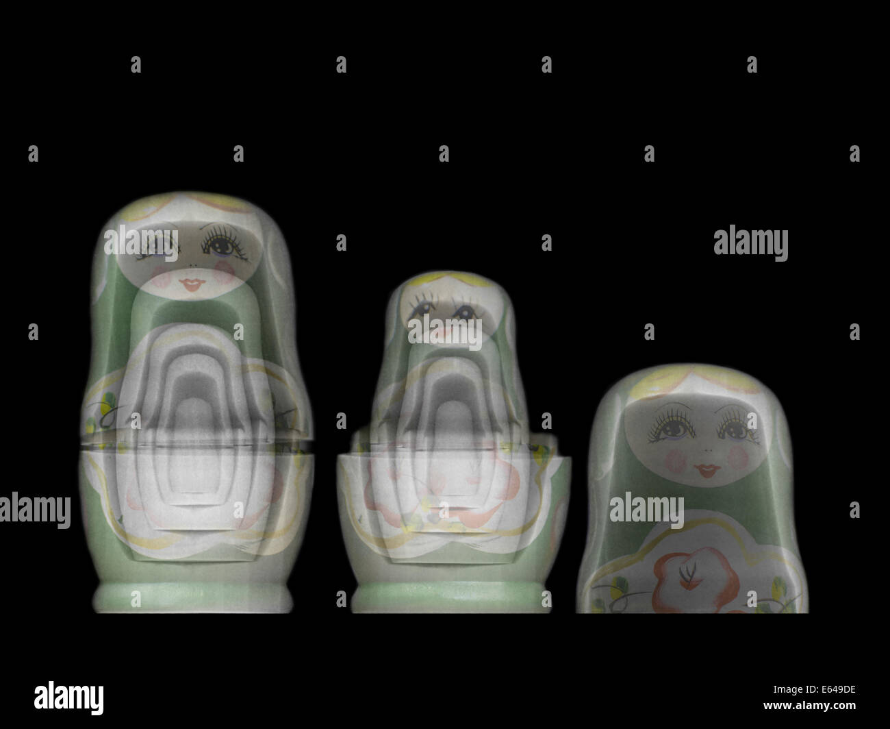Russian Matryoshka doll under x-ray. The inner smaller dolls can be seen - Stock Image