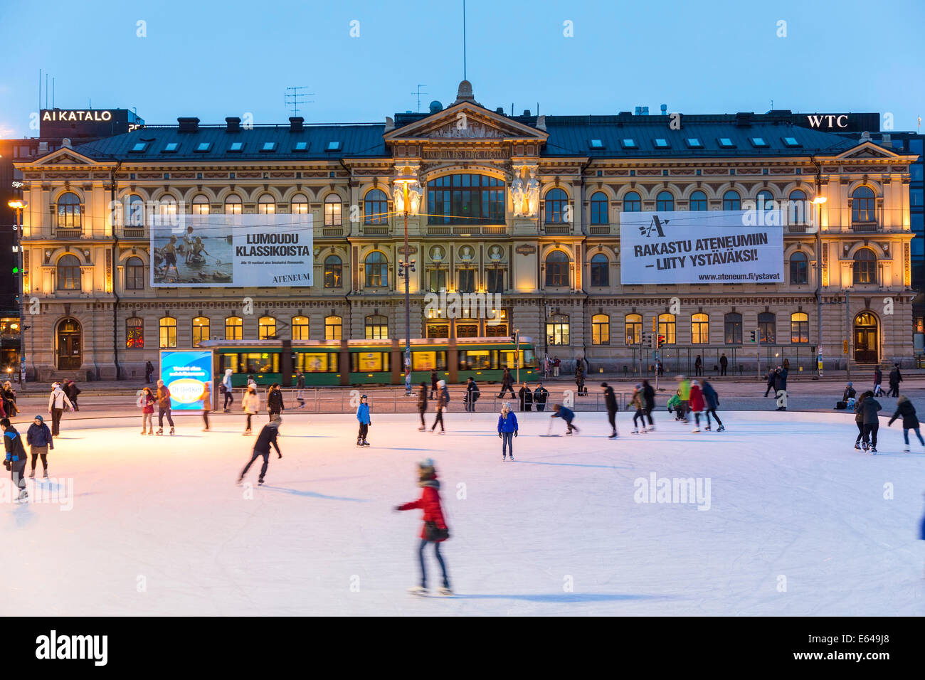Ice rink in front of Ateneum, Art Museum, Helsinki, Finland - Stock Image