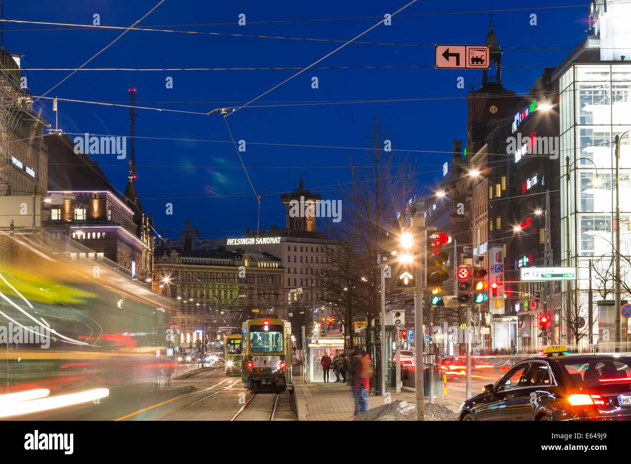 Central Helsinki, shopping street, Helsinki, Finland - Stock Image