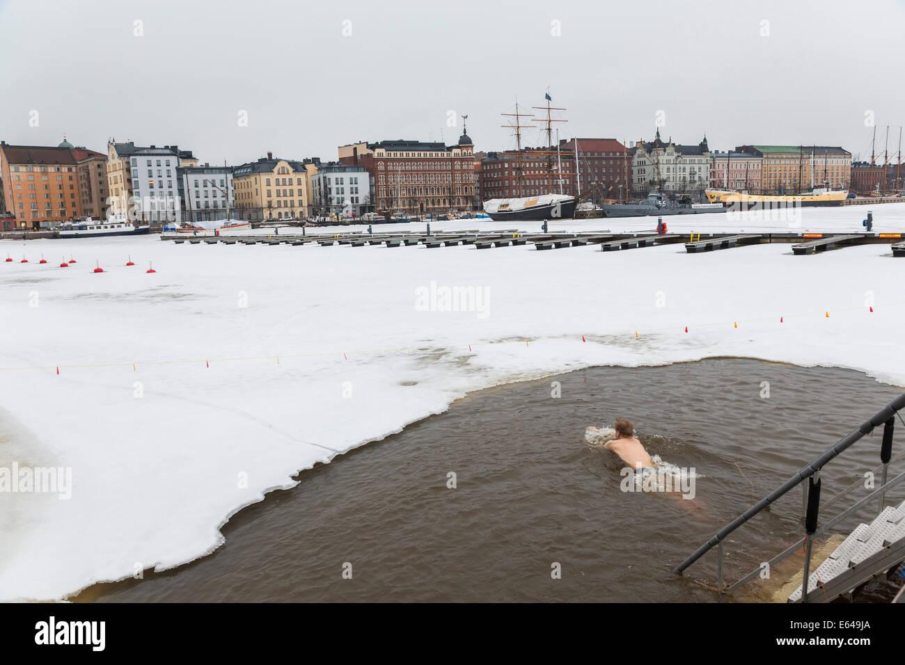 Ice swimming, Helsinki harbour, Helsinki, Finland - Stock Image
