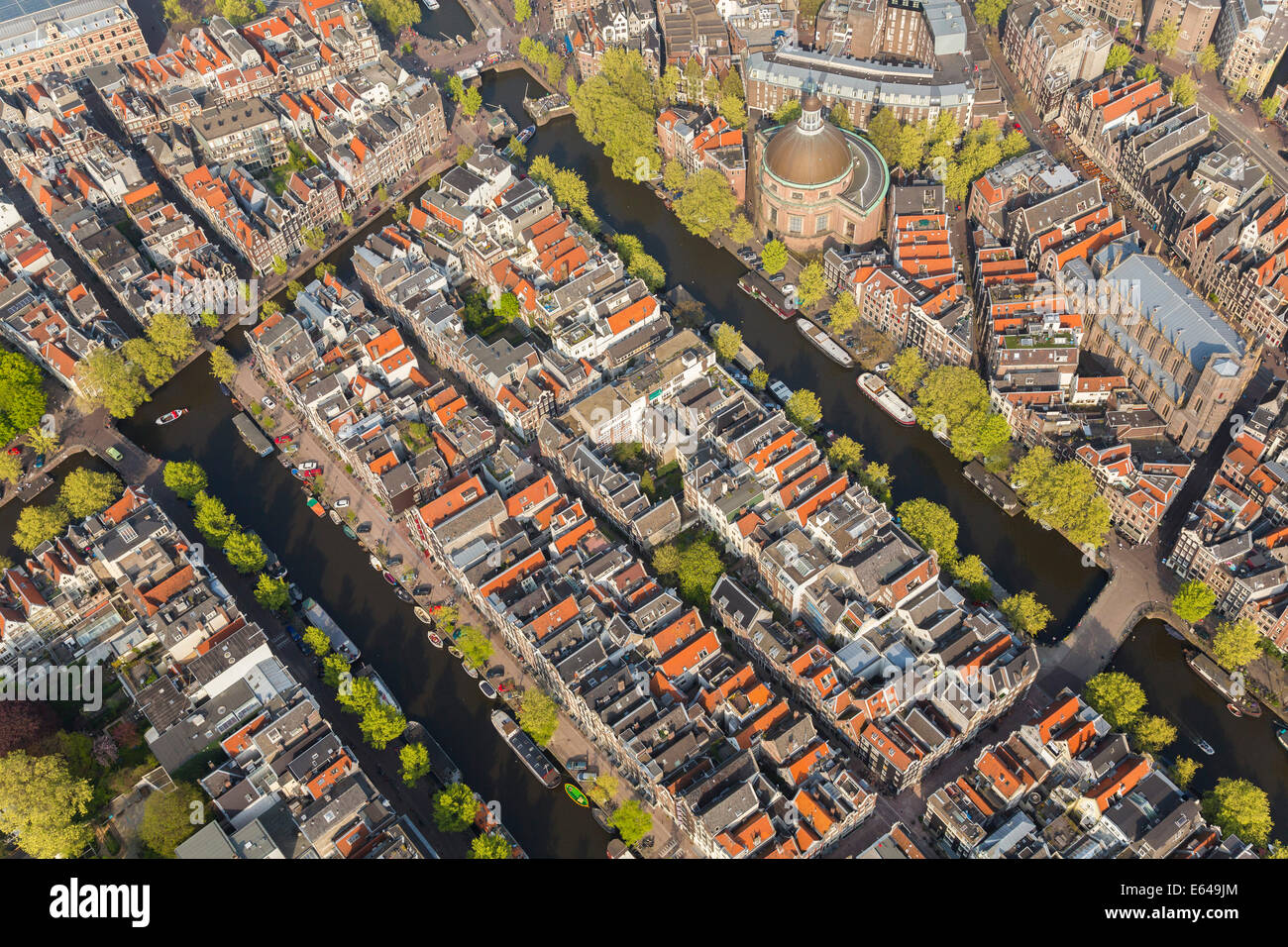 Aerial view of Amsterdam, Holland, Netherlands - Stock Image