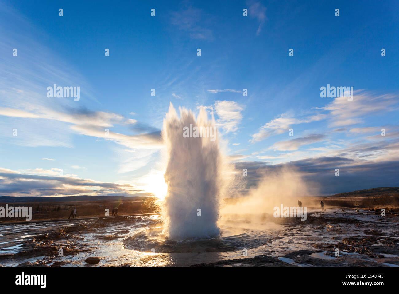 Strokkur (the Churn), Geysir, Golden Circle, Iceland - Stock Image