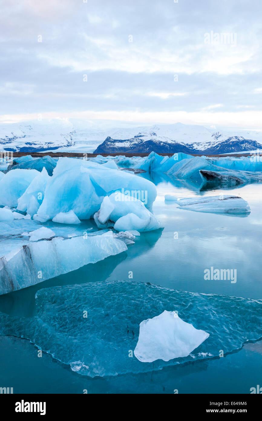 Icebergs, Jokulsarlon Glacier Lake, South Iceland - Stock Image