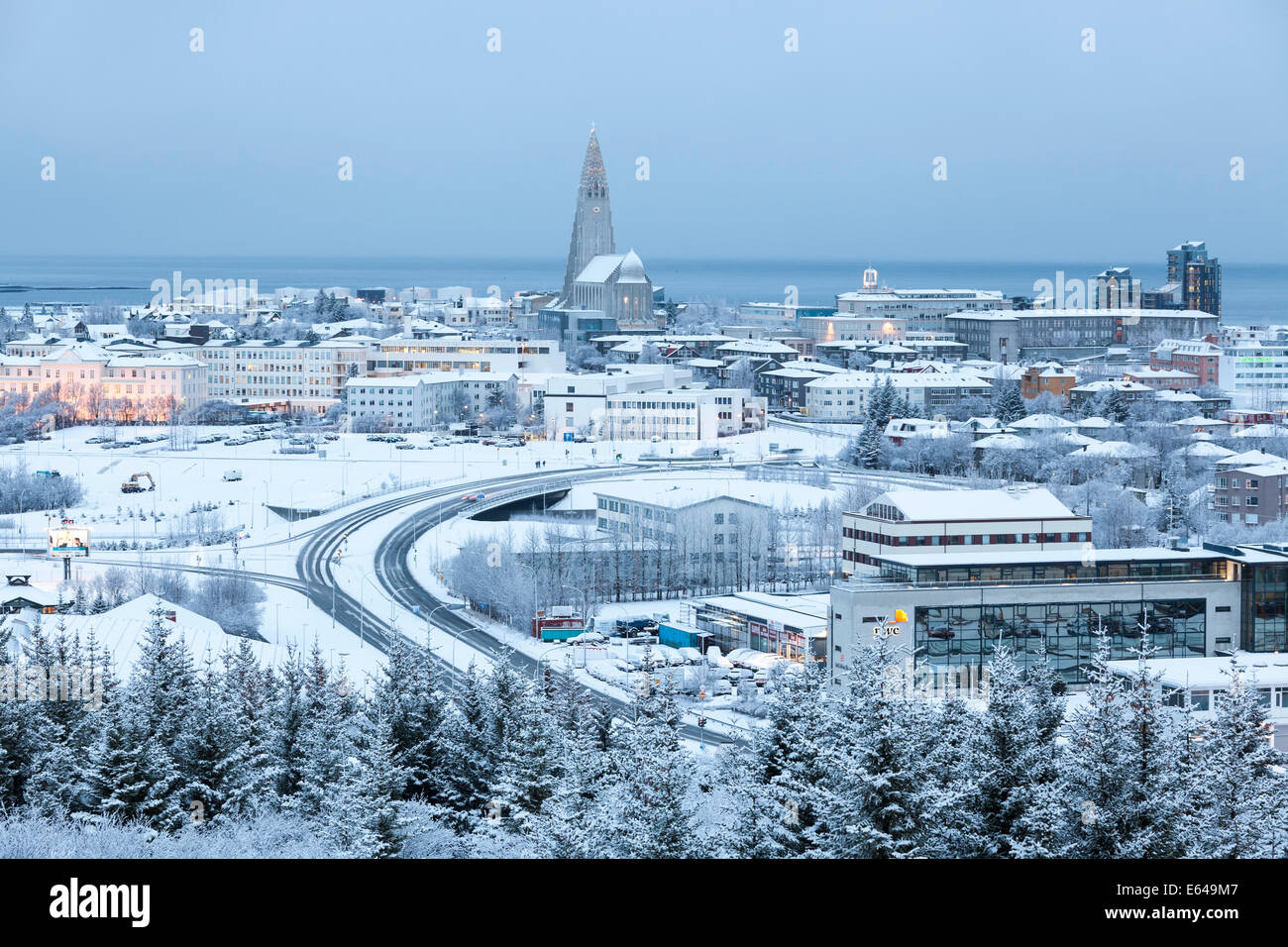 View over Reykjavik in winter, Iceland - Stock Image