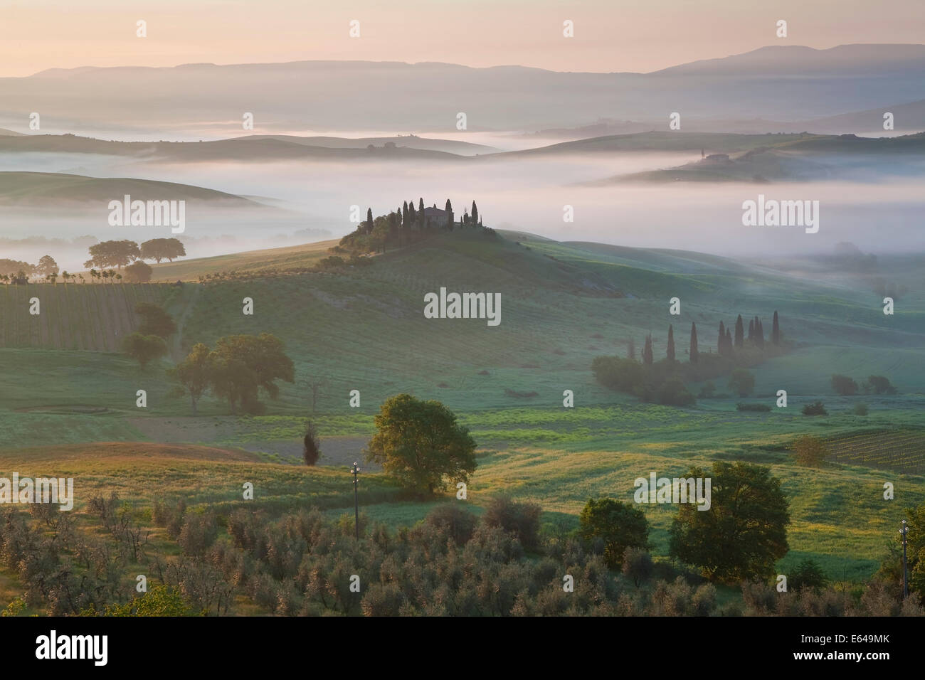 Farmhouse in Valley, Val d'Orcia, Tuscany, Italy - Stock Image
